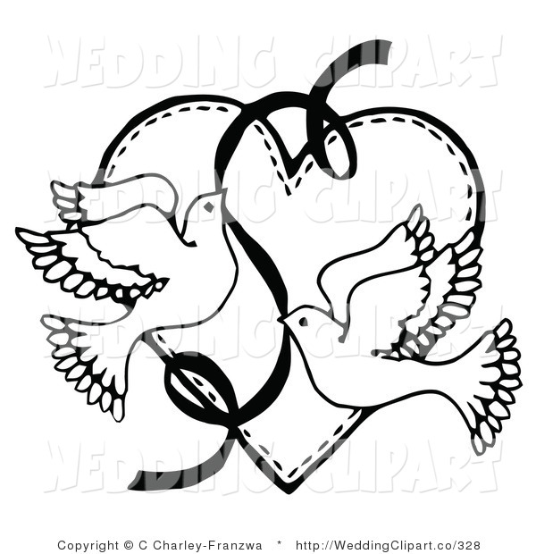 600x620 Vector Marriage Clipart Of Wedding Blacknd White Doves