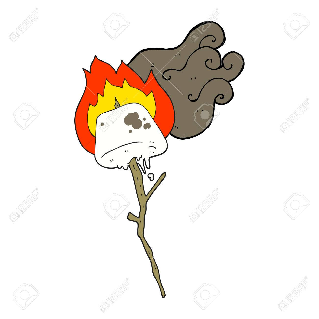 1300x1300 Freehand Drawn Cartoon Toasted Marshmallow Royalty Free Cliparts