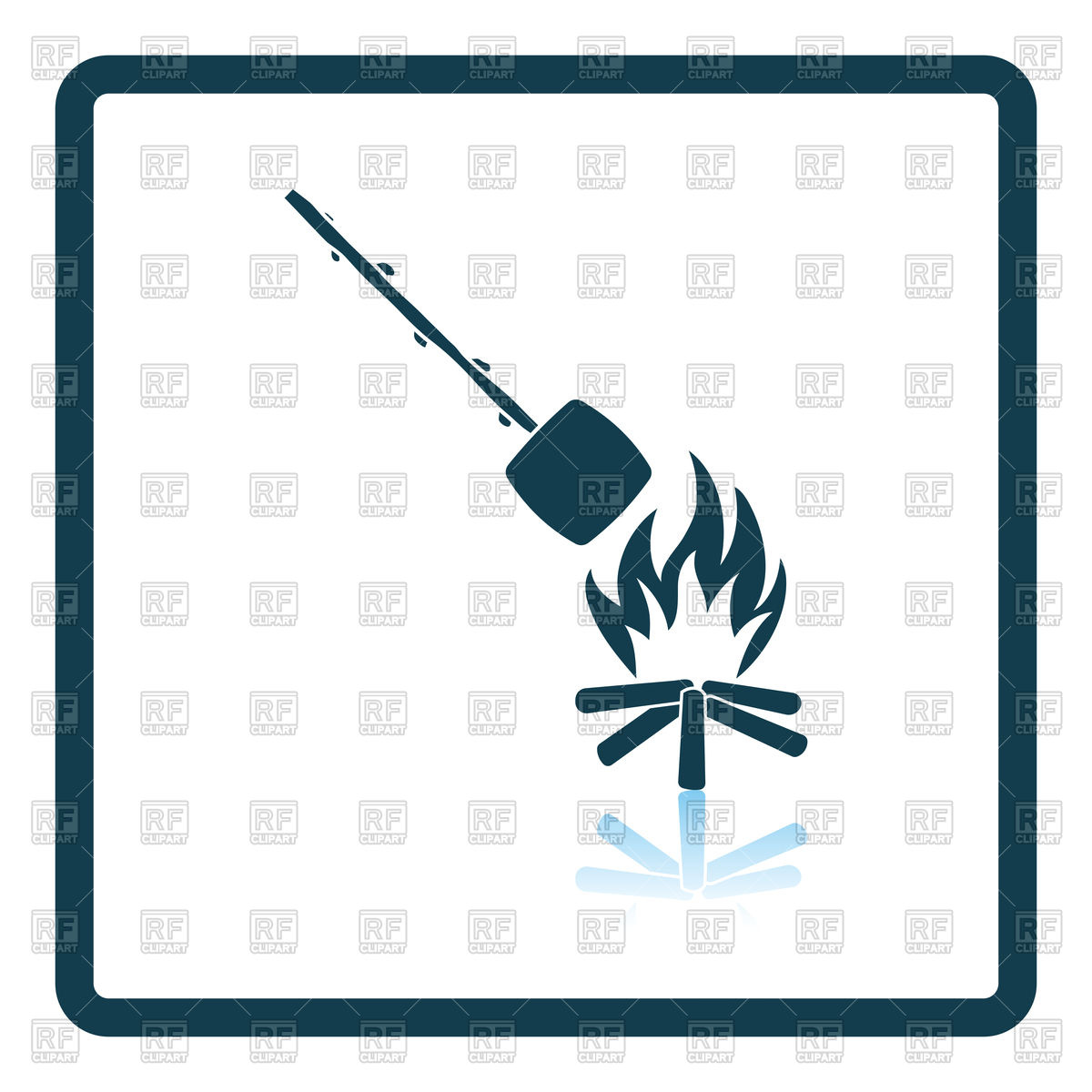 1200x1200 Icon Of Camping Fire With Roasting Marshmallow Royalty Free Vector