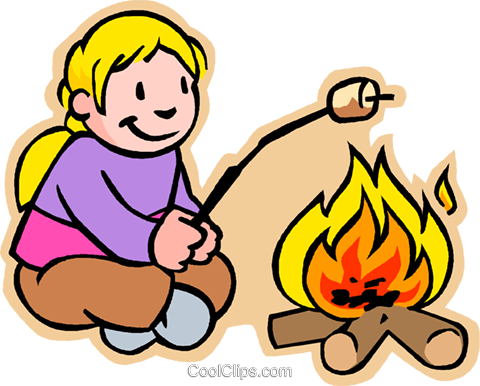 480x386 Girl Toasting Marshmallow Over Fire Royalty Free Vector Clip Art