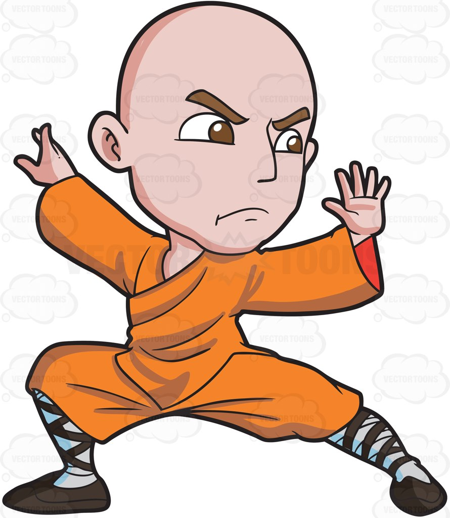 890x1024 A Shaolin Man Doing A Kung Fu Stance Cartoon Clipart
