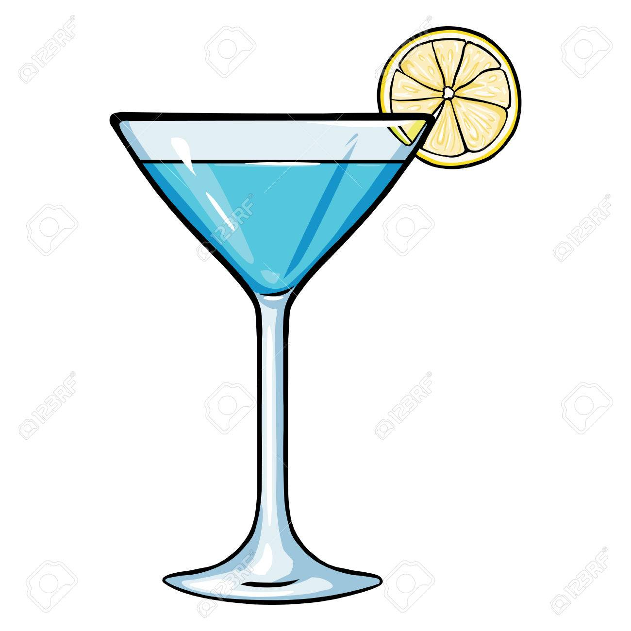 1300x1300 Vector Cartoon Blue Cocktail With Lime On White Background Royalty