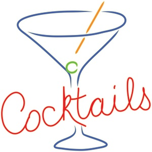 300x300 This Is A Clip Art Illustration Of A Retro Cocktails Sign In