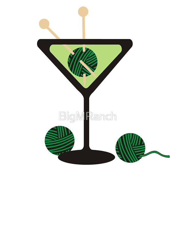 600x800 Martini Glass Knitting Needles Yarn Stickers By Bigmranch Redbubble