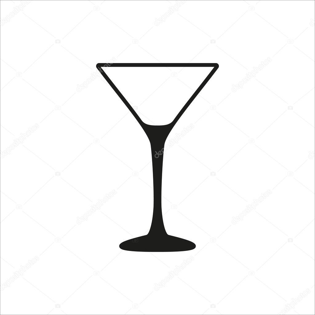 1024x1024 Empty Transparent Martini Glass Cup Icon In Simple Monochrome