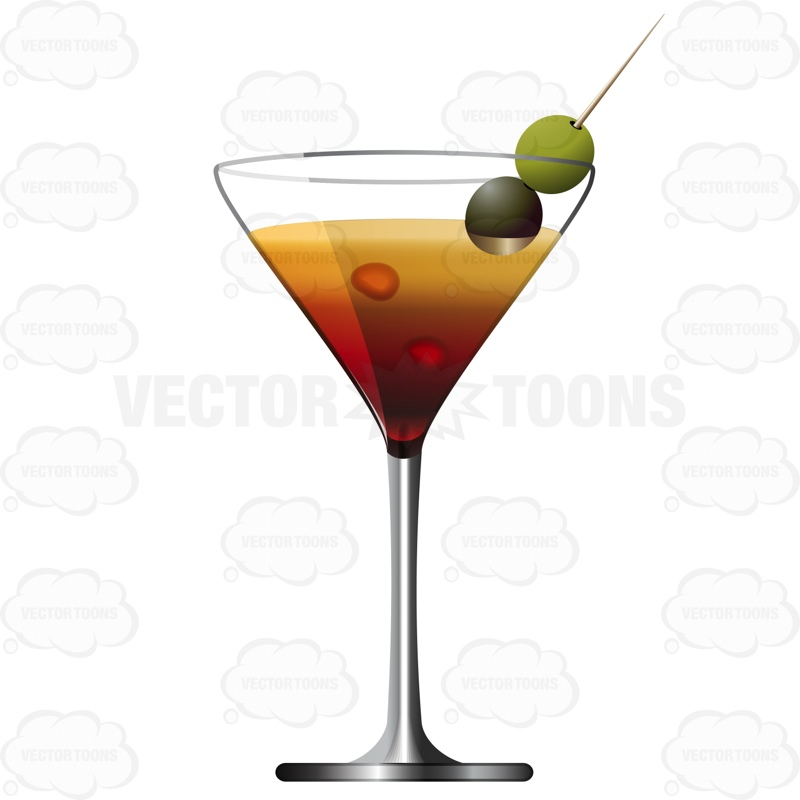 800x800 Martini Glass With Two Olives On Toothpick Cartoon Clipart