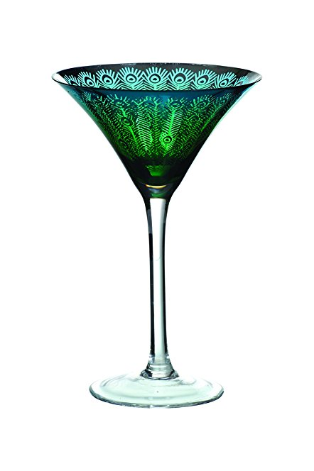 442x664 Artland Peacock Martini Glass, Set Of 2, Multi Colour Amazon.co
