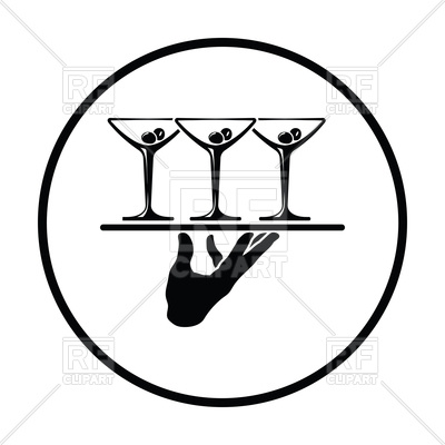 400x400 Waiter Hand Holding Tray With Martini Glasses Icon Royalty Free