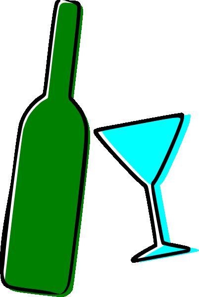 402x599 Wine Bottle And Martini Glass Clip Art