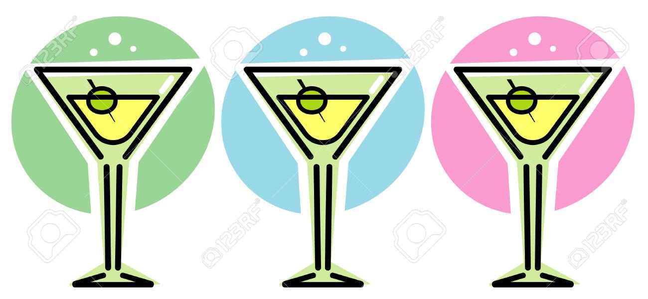 1300x600 Martini Glasses Clipart
