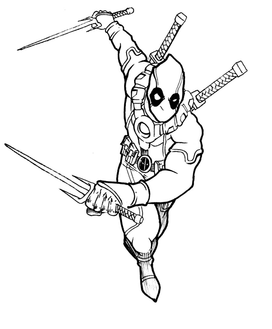 900x1088 Marvel Coloring Pages Deadpool