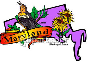 300x211 State Of Maryland With State Symbols Of The Oriole And The Black