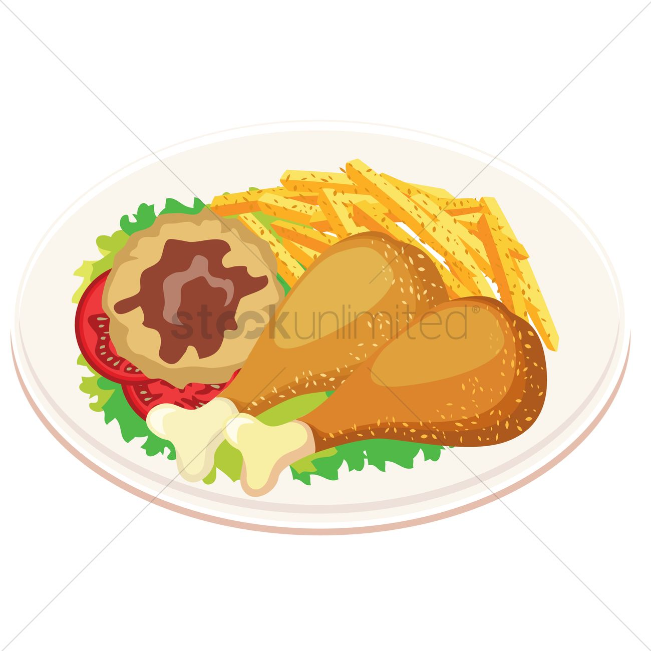 1300x1300 Chicken Drumstick With Mashed Potato And French Fries Vector Image