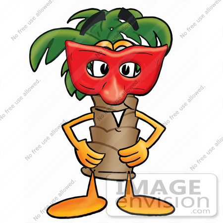450x450 Clip Art Graphic Of A Tropical Palm Tree Cartoon Character Wearing