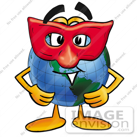450x450 Clip Art Graphic Of A World Globe Cartoon Character Wearing A Red