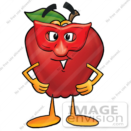 450x450 Clip Art Graphic Of A Red Apple Cartoon Character Wearing A Red
