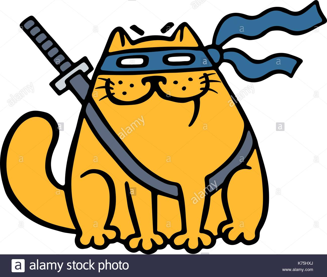 1300x1102 Cute Fat Ninja Cat In A Mask And A Sword. Funny Cartoon Cool Stock
