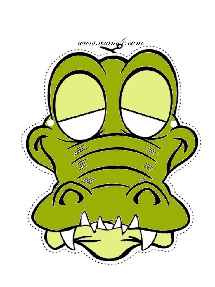 736x981 Cute Cartoon Crocodile Or Alligator Mask. Printable Masks