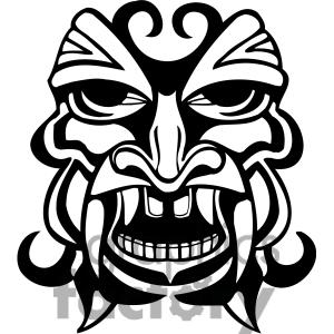300x300 Royalty Free Ancient Tiki Face Masks Clip Art 022 Clipart Image