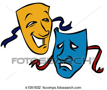 450x380 Clip Art Of Comedy And Tragedy Masks K1051632