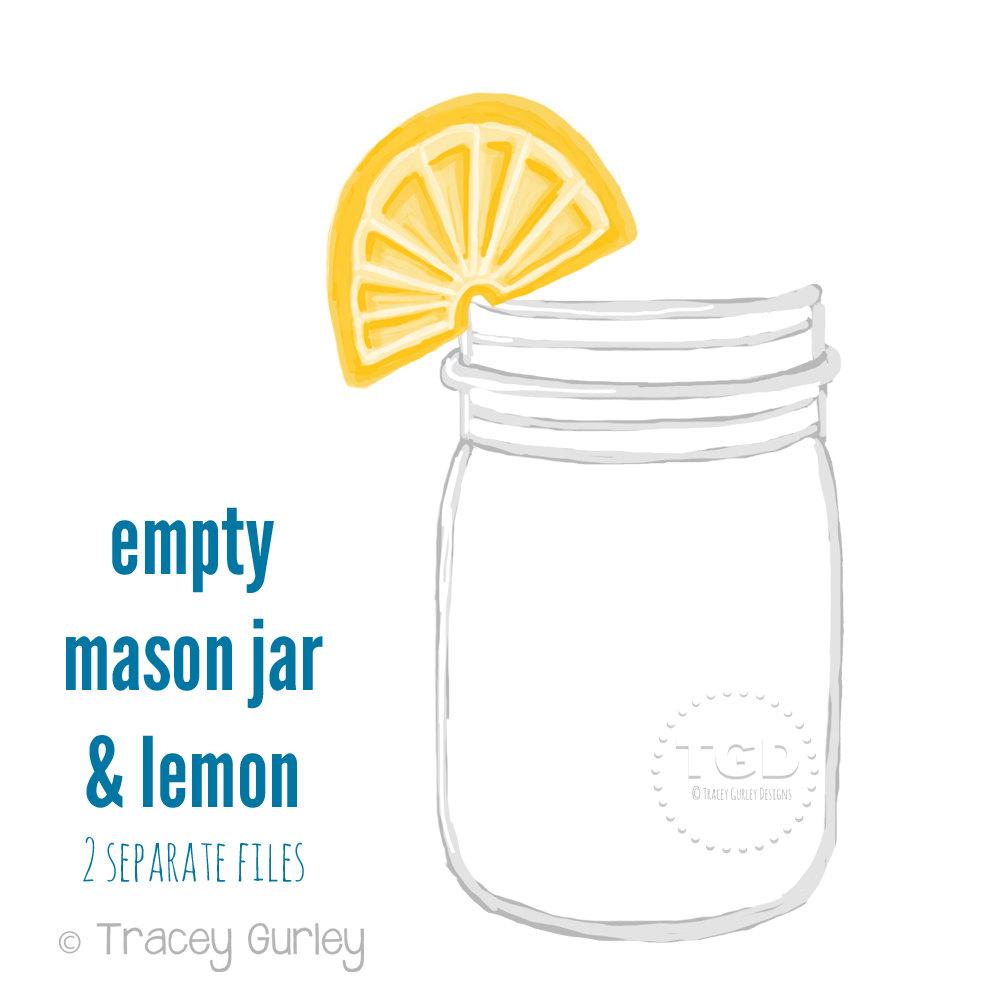 1000x1000 Mason Jar Clip Art Mason Jar With Lemon Invitation Paper