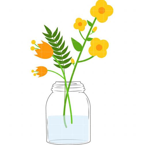 504x504 Mason Jar With Flowers Clipart