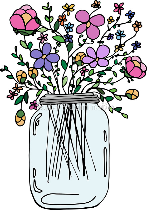 558x800 Mason Jar With Flowers Stickers By Ruta Rudminaite Redbubble