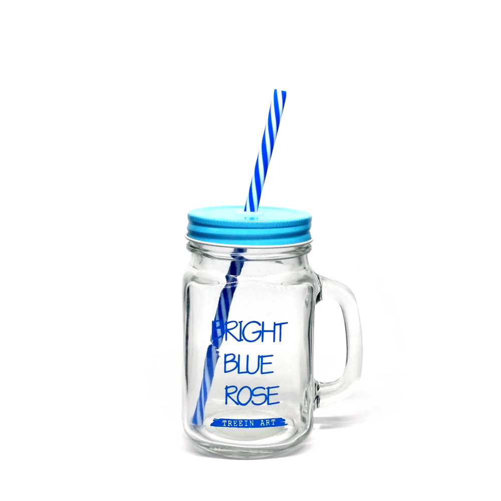 1000x1000 Mason Jar Mug Bright Blue Rose Regular Mouth 16 Oz Blue + Blue
