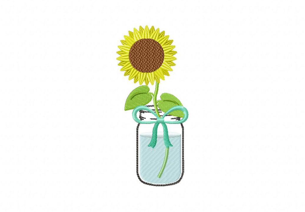 1036x721 Mason Jar Sunflower Machine Embroidery Design Daily Embroidery
