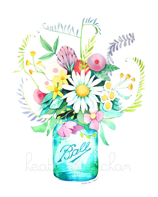Mason Jar With Flowers Clipart