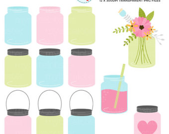 340x270 Mason Jar Clipart Pastel Flower