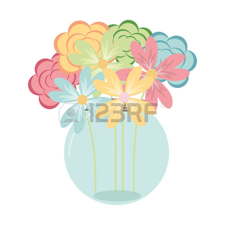 450x450 Vector Purple And Green Floral Bouquets In Jars Royalty Free