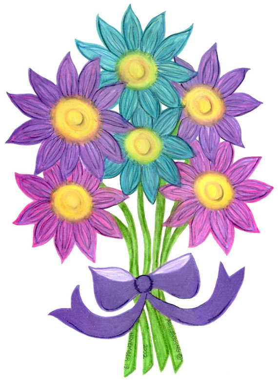 570x778 Pack Of 3 Cards Pink, Purple, Aqua Flower Bouquet Drawing Small