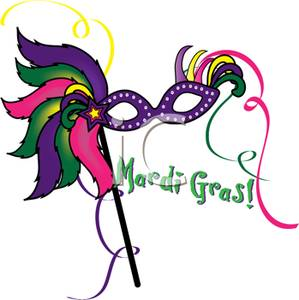 299x300 Purple Masquerade Mask With Mardi Gras! Text Clipart