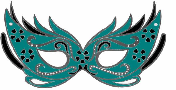 600x307 Teal Masquerade Mask Clip Art