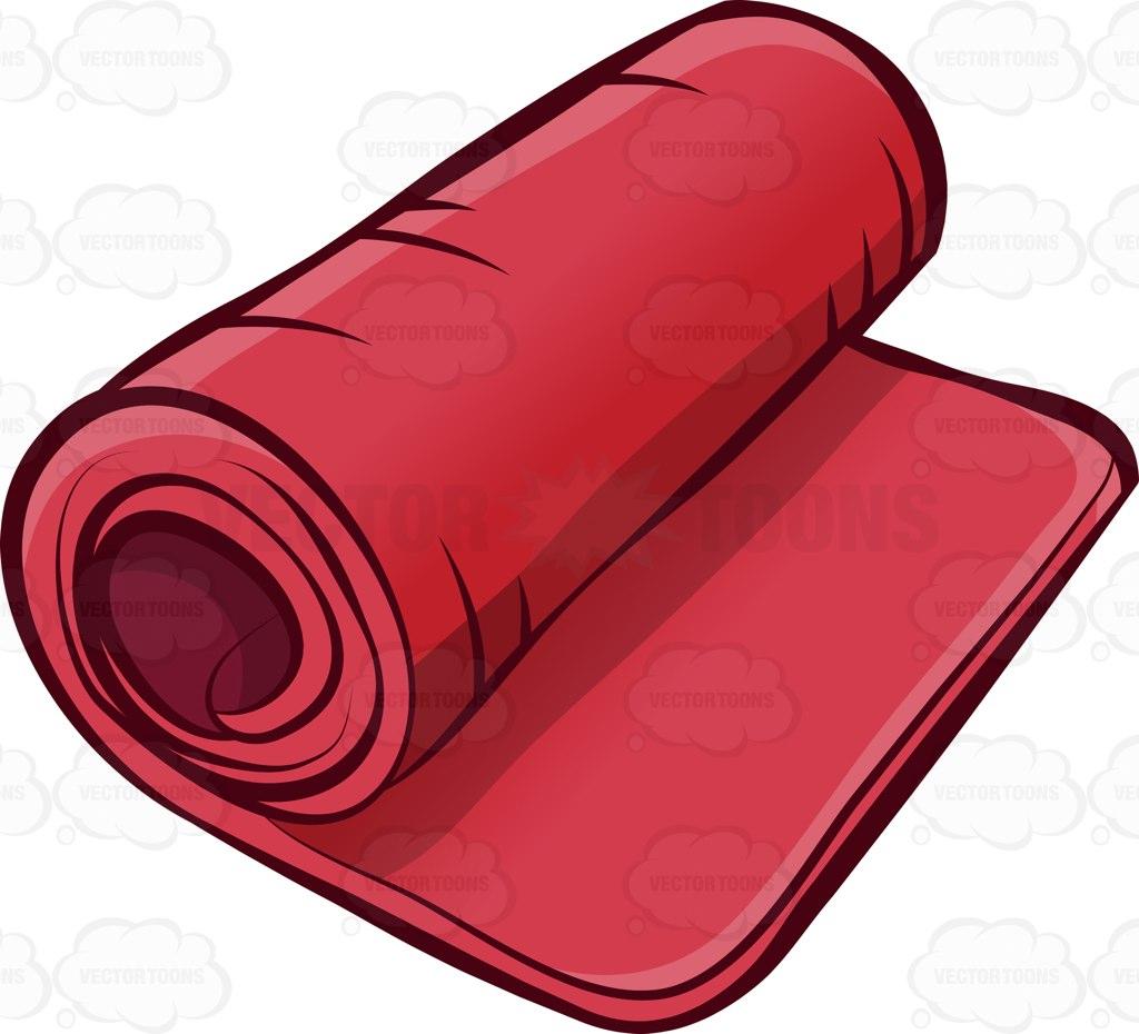 1024x930 A Rolled Fitness Mat Cartoon Clipart