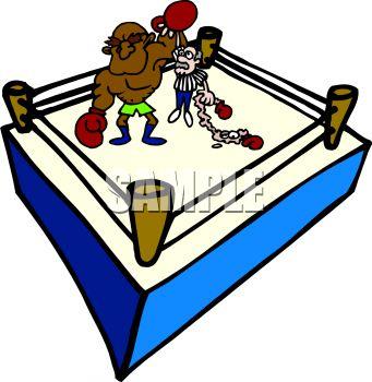 341x350 Cartoon Of A Boxer Winning A Boxing Match Clip Art