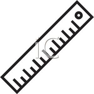 300x299 Black And White Ruler Clip Art Image