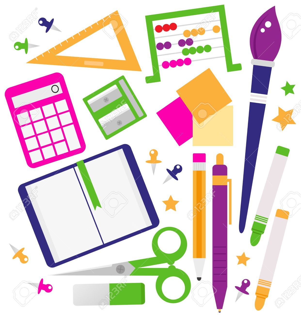 1242x1300 Set Of School Items Cartoon Royalty Free Cliparts, Vectors, And