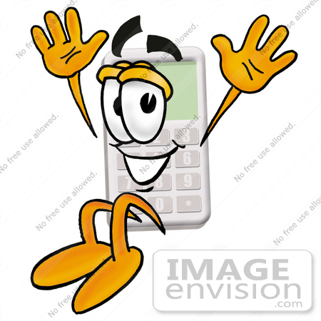 450x450 Clip Art Graphic of a Calculator Cartoon Character Jumping