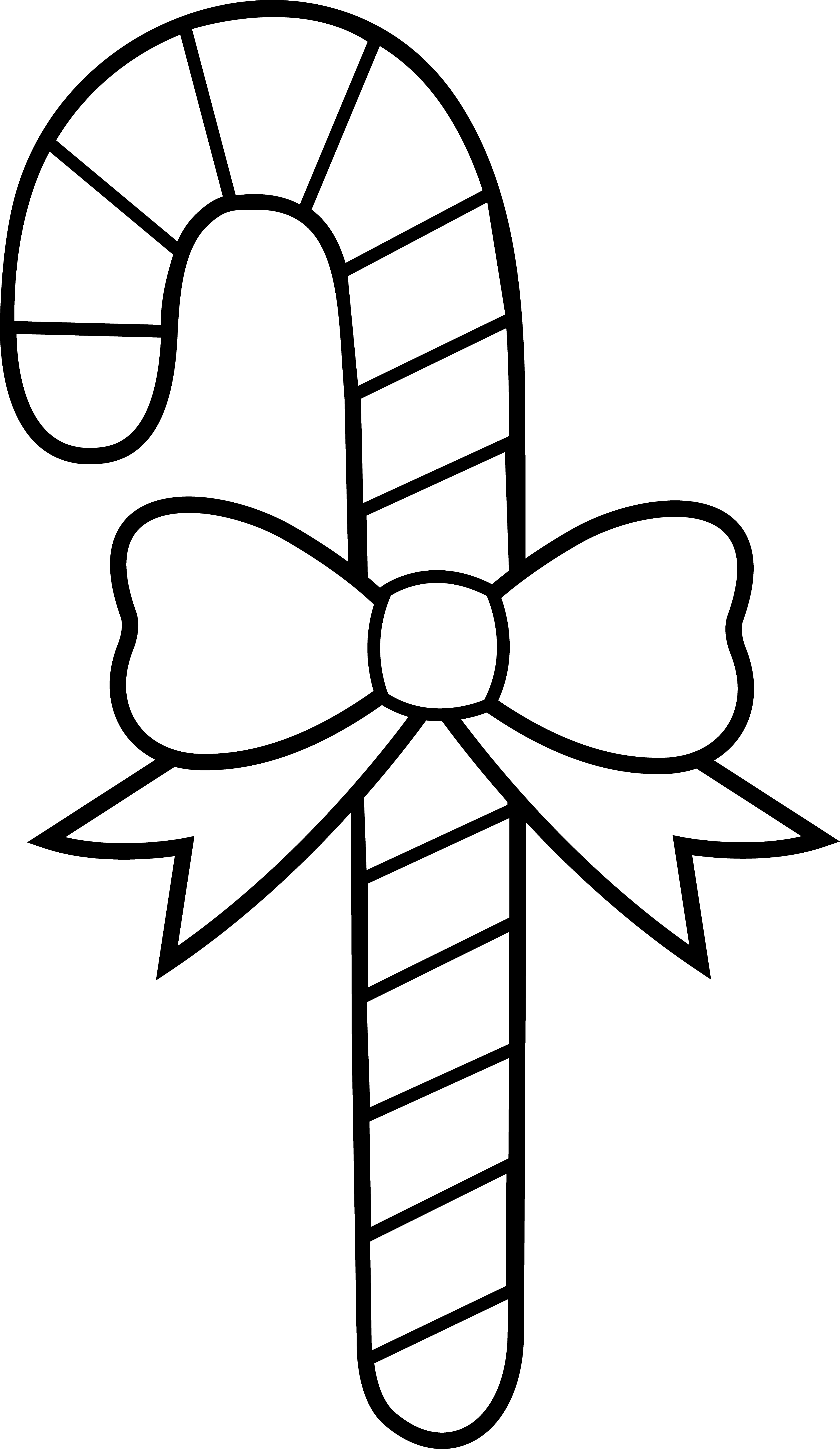 3842x6628 Candy Cane clipart black and white