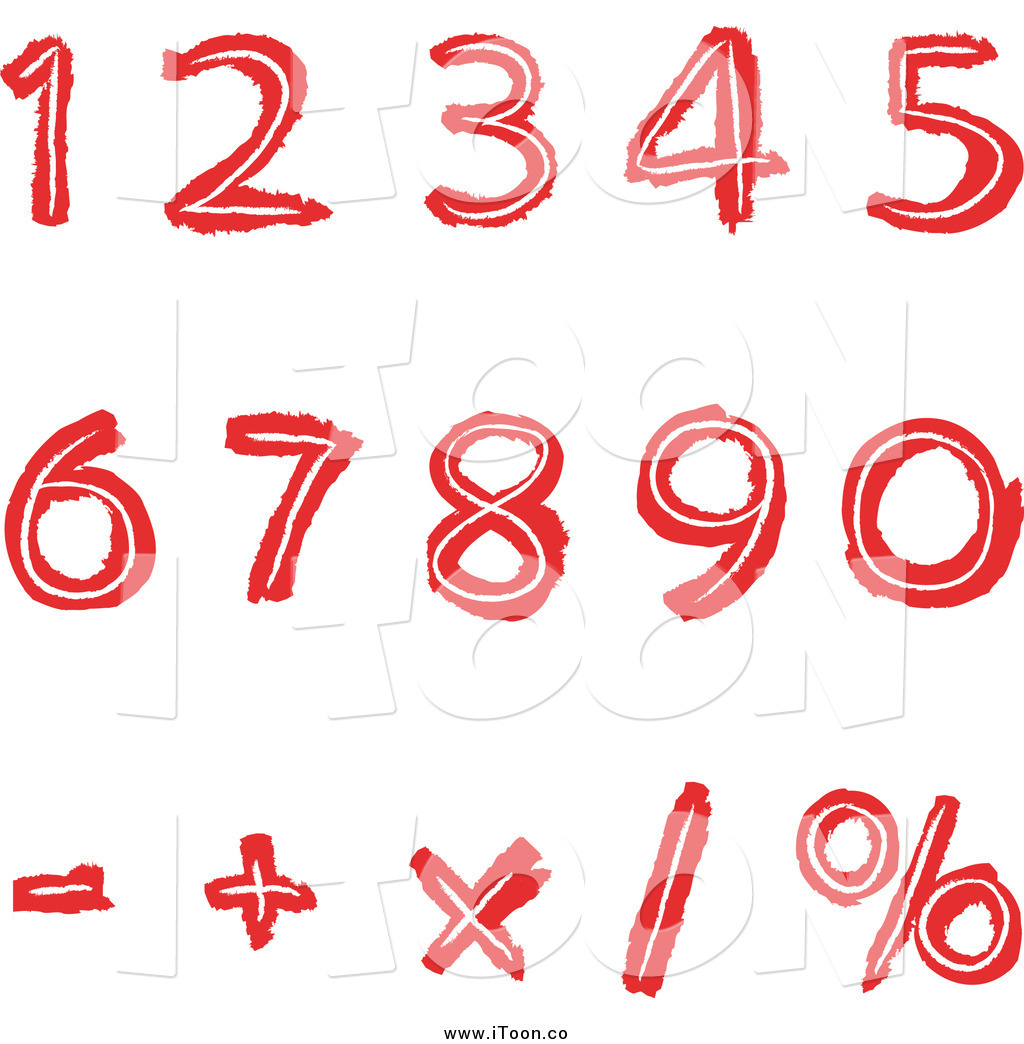 1024x1044 Royalty Free Cartoon Of Red Numbers And Math Symbols By Yayayoyo
