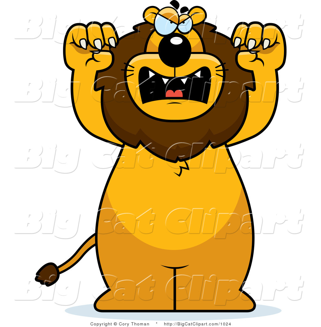 1024x1044 Big Cat Vector Clipart Of A Mad Lion Standing Upright By Cory
