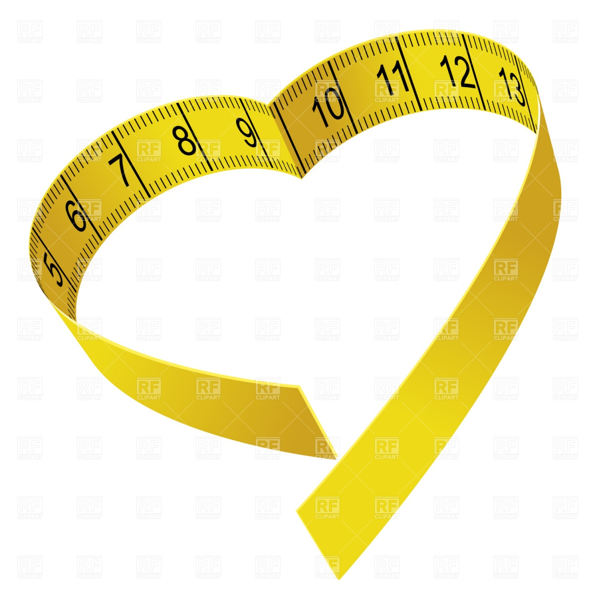 1200x1200 Heart Shaped Tape Measure Royalty Free Vector Clip Art Image