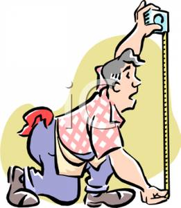 261x300 Colorful Cartoon Of A Carpenter Measuring With A Tape Measure