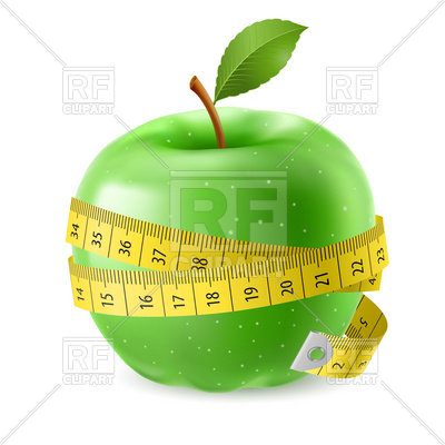 400x400 Green Apple Encircled With Measuring Tape Royalty Free Vector Clip