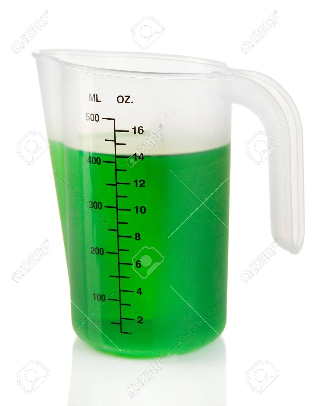 1078x1300 Measuring Cup With Green Liquid Isolated On White Stock Photo