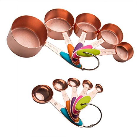 463x463 Copper Stainless Steel Measuring Cups And Spoons Set