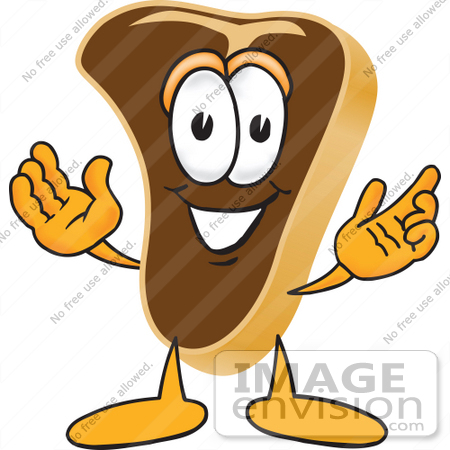 450x450 Clip Art Graphic Of A Beef Steak Meat Mascot Character Welcoming