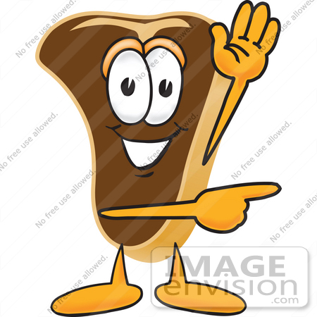 450x450 Clip Art Graphic Of A Beef Steak Meat Mascot Character Waving